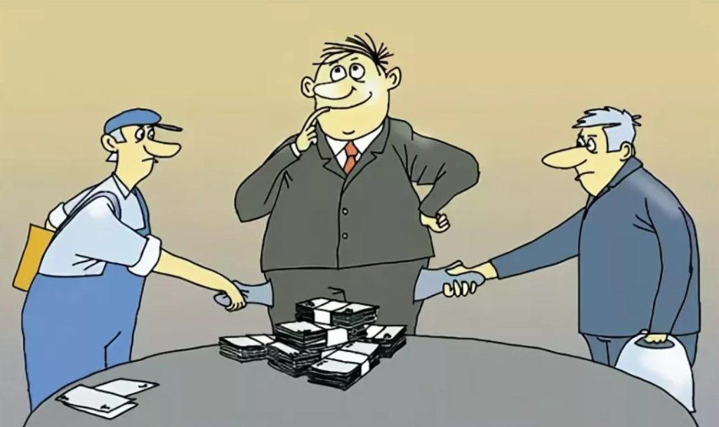 карикатура посредника в бизнесе